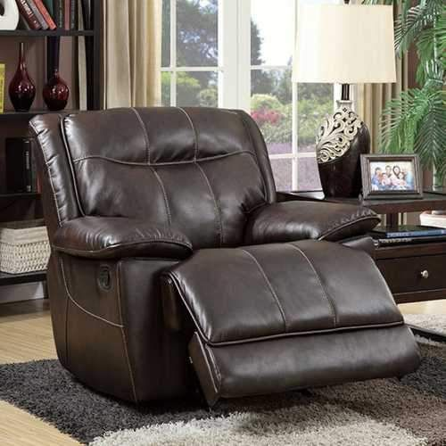 Dolton Transitional Glider Recliner Single Chair, Brown Finish