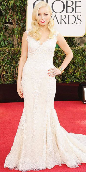 Clint Eastwood's daughter, Francesca Eastwood, Miss Golden Globe 2013, in mermaid lace gown on the Globes red carpet