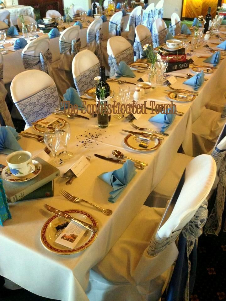Double Periwinkle Satin and Lace Bows on White Chair Covers  The Sophisticated Touch ...Chair Covers by Design