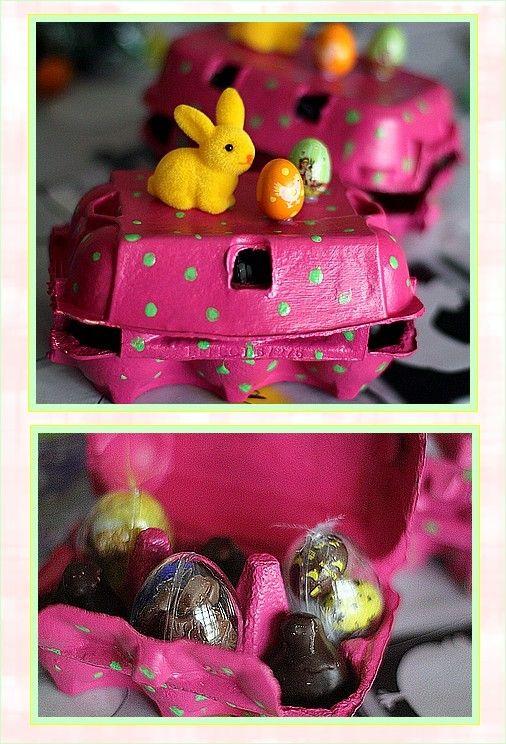 Très jolies boîtes à oeufs aux couleurs bonbon pour y cacher de bons chocolats.... Merci Muriel...
