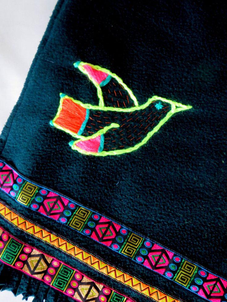 Handembroidered fluo bird scarf by BeatricePoggioArt on Etsy