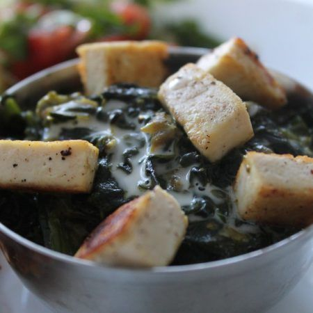 Creamy spinach with tofu