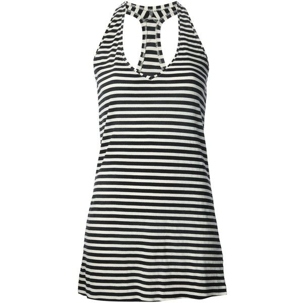 See this and similar Department 5 tank tops - Blue and white cotton-blend vest top from Department 5 featuring a v-neck, a sleeveless design, a racerback, horiz...