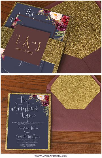 Marsala gold and navy wedding invitations. Floral design paired with gold glitter envelope liners. Burgundy wedding gold wedding navy wedding marsala wedding.