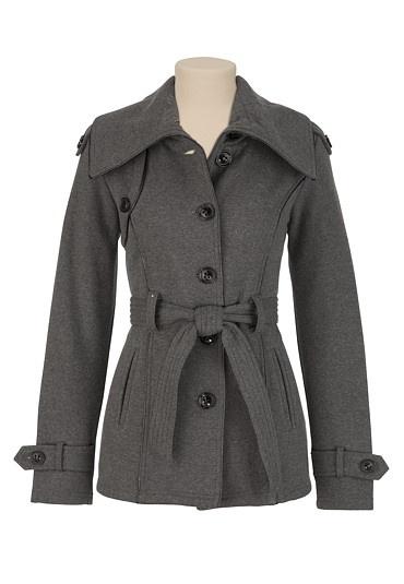 Belted Contrast Trim Coat