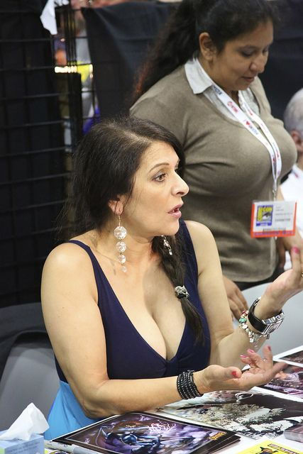 Marina Sirtis giving the fans more than just an autograph to remember her by.