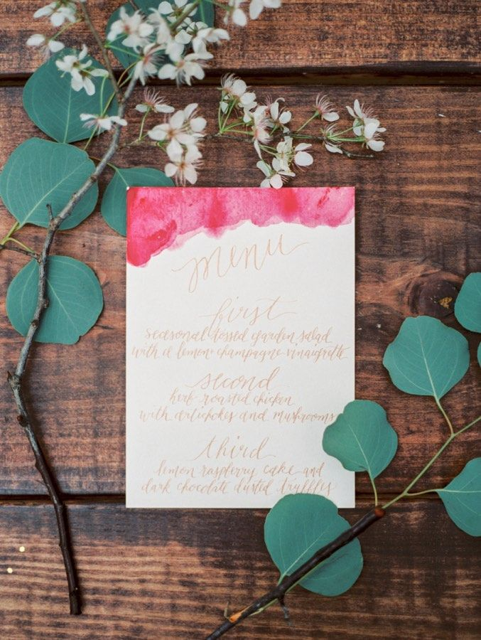 photo: Kate Anfinson; Pretty wedding reception menu card idea