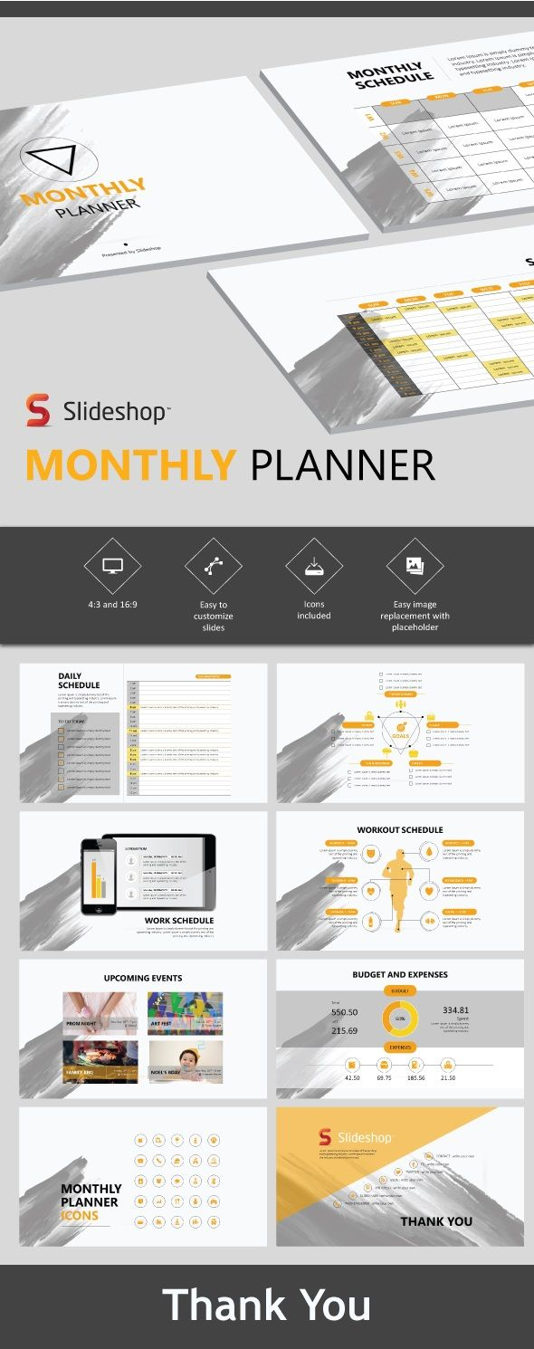 Monthly Planner - #Presentation Templates Download here: https://graphicriver.net/item/monthly-planner/19717896?ref=alena994
