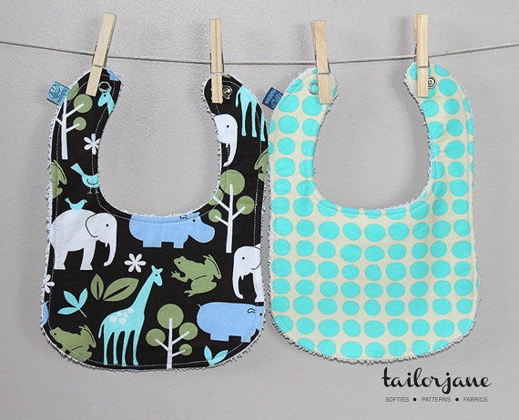 Reversible Cute Critters Bib Set 2 by tailorjane on Etsy, $20.00