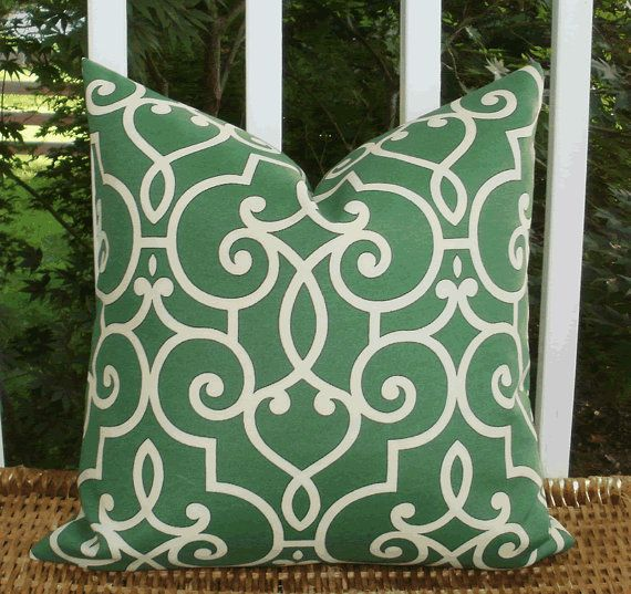HGTV cream lattice design on a jade green background in an outdoor fabric with a bottom zipper closure featuring the same fabric on both sides. This cover is made according to industry standards to fit an 18 X 18 inch pillow so is 17.5 square so the pillow will plump and the corners will fill in. Also available in Spa, Onyx and Lapis. The pillow form is not included but readily available from your home and garden store or big box retailer. Or, cover up those pillows from last year. Easily…