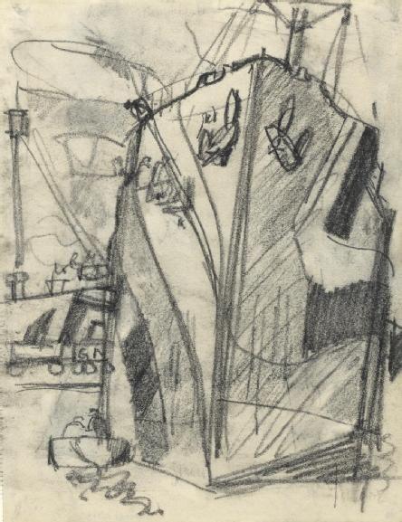 Study for 'Dockyard, Portsmouth, 1918'. Dazzle Camouflage WWI