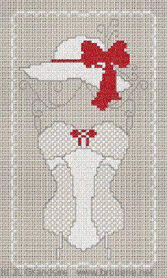 0 point de croix corset et chapeau blanc - cross stitch white corset and hat