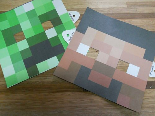Minecraft party masks Could make from punched cardstock squares?