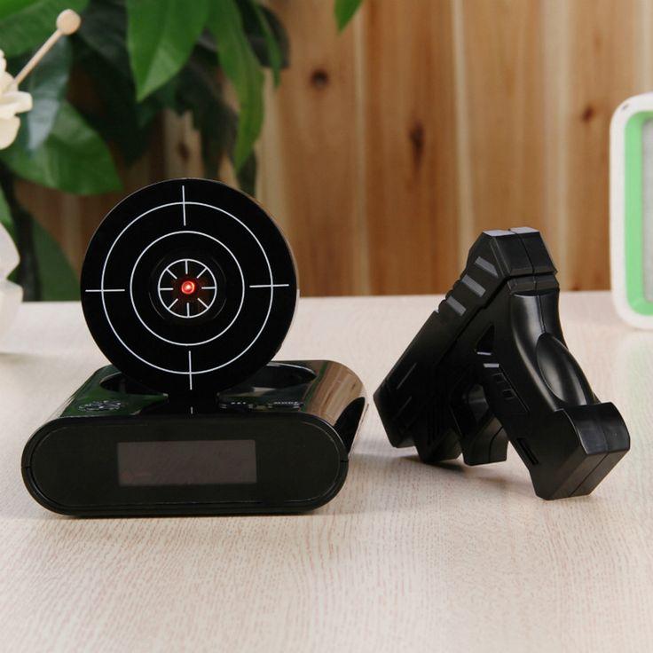 Desk Gadget Target Laser Shooting Gun Alarm Clock LCD Screen Gun Alarm Colck/Target Alarm Clock