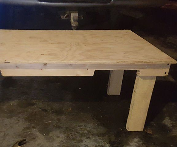 """WARNING: Use with caution! Electric tools used in the construction of the coffee table.Materials Needed:1 Sheet of Plywood: (48"""" X 24"""")1 Pallet: (42""""X 42"""")Tools: #305 Stainless Steel 3 inch x 10 ScrewsElectric SawPower Drill with variable sized Drill bits Measuring TapeHammerCrow barClamp (Optional)"""
