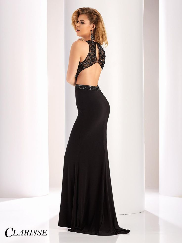 Sexy Two Tone Clarisse Prom Dress 3098. Stand out and feel sexy in this sleeveless prom dress with a red lining, sheer beaded bodice with cutouts and an open back. Find your Clarisse authorized retailer now! Click through to see more! COLOR: Black/Red SIZE: 00-16