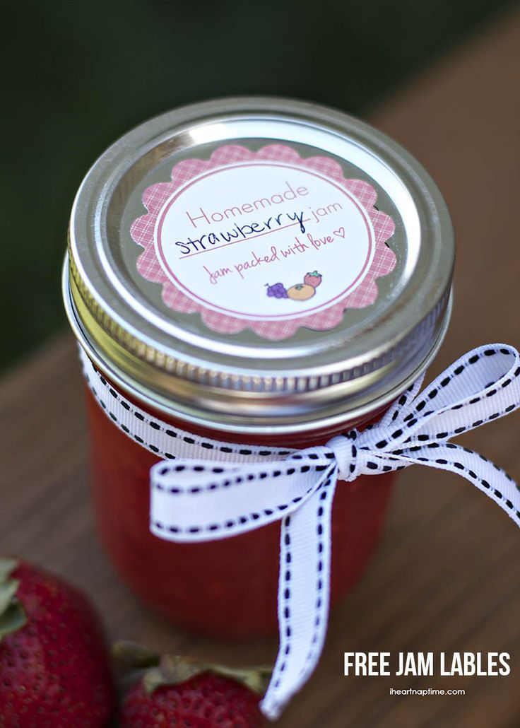 Free jam printable jam labels on iheartnaptime.net ...this would make a great Valentine gifts for friends or teachers!