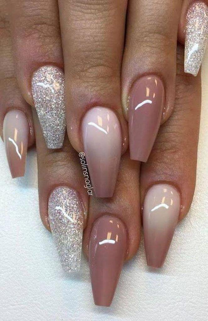 Glitter And Mauve Acrylic Nails Acrylicnaildesigns Ombre Nail Designs Nail Designs Glitter Nail Designs