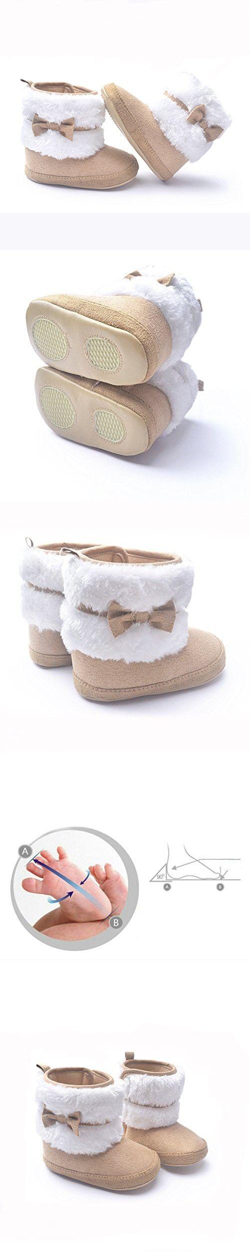 LIVEBOX Baby Girls' Premium Soft Sole Bow Anti-Slip Mid Calf Warm Winter Infant Prewalker Toddler Snow Boots (M: 6~12 months, Khaki)