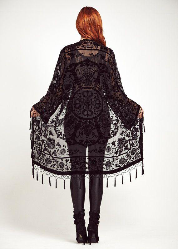 Velvet Fringe Kimono Jacket  Midnight Lace by shevamps on Etsy, £99.00