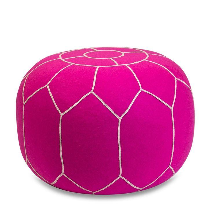 Neon Pink Felt Ottoman | Me & My Trend
