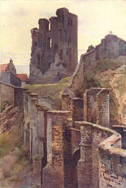 Scarborough Castle was built at the site of an Iron Age settlement and was later a Roman signal station. The present castle dates from the 1150s.