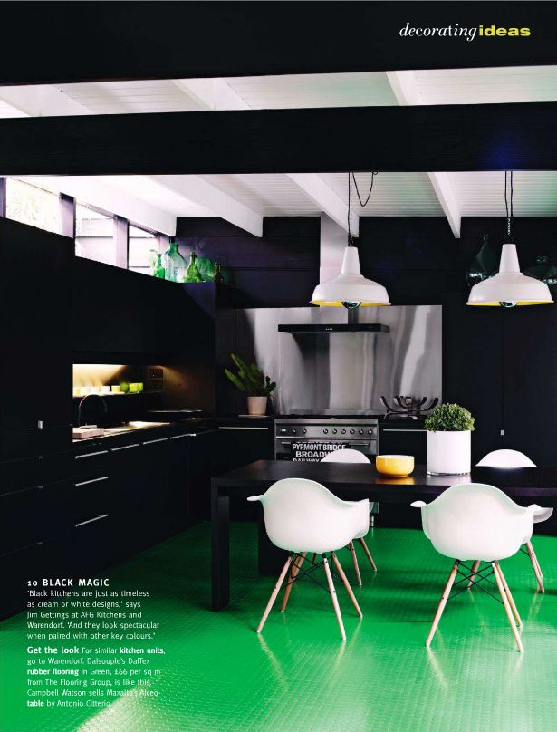 white contrast eames style dining chair with armrests in black kitchen love the green grass style floor!
