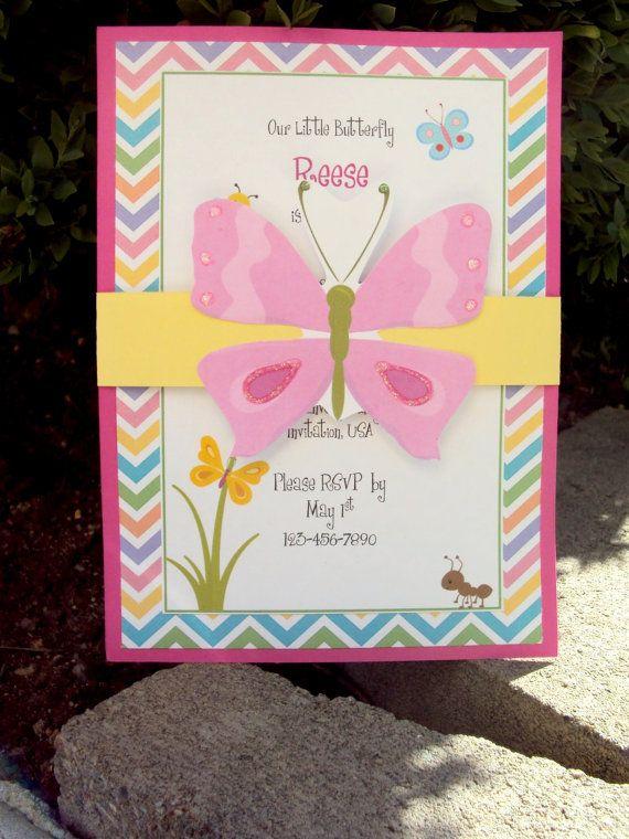 Butterfly Birthday Invitation, Garden Party Birthday Invitation, Childrens Birthday Invitation