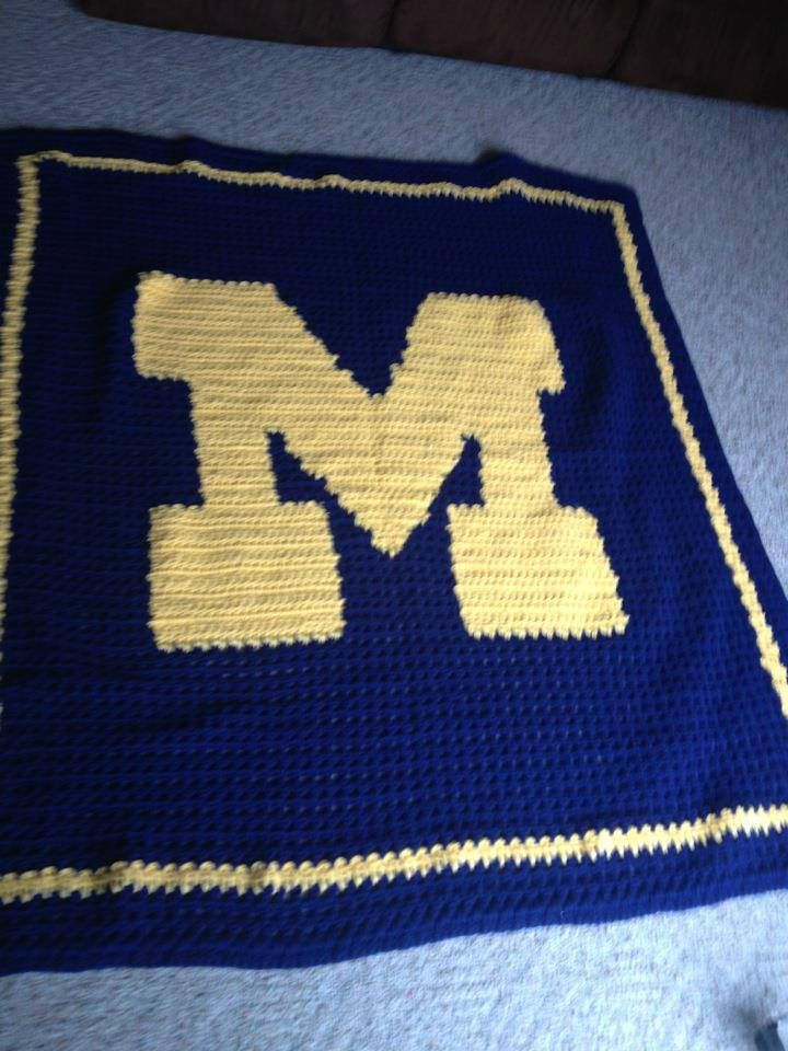 Filet crochet of University of Michigan logo property of Melinda, made by CrochetcraftsbyTam