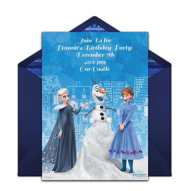 Customizable, free Olaf's Frozen Adventure online invitations. Easy to personalize and send for a party. #punchbowl