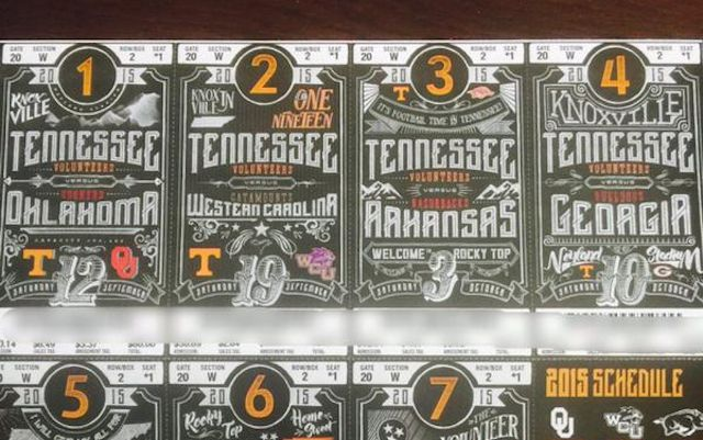 Tennessee's football tickets have a very familiar design. (Twitter)
