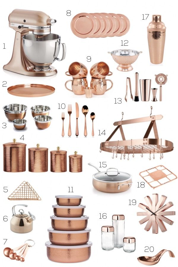 Kitchen Accessories Shopping Guide Copper By Albie Knows Interior Design Decor Styling Home Organization Copper Kitchen Accessories Copper Kitchen Kitchen Accessories Decor