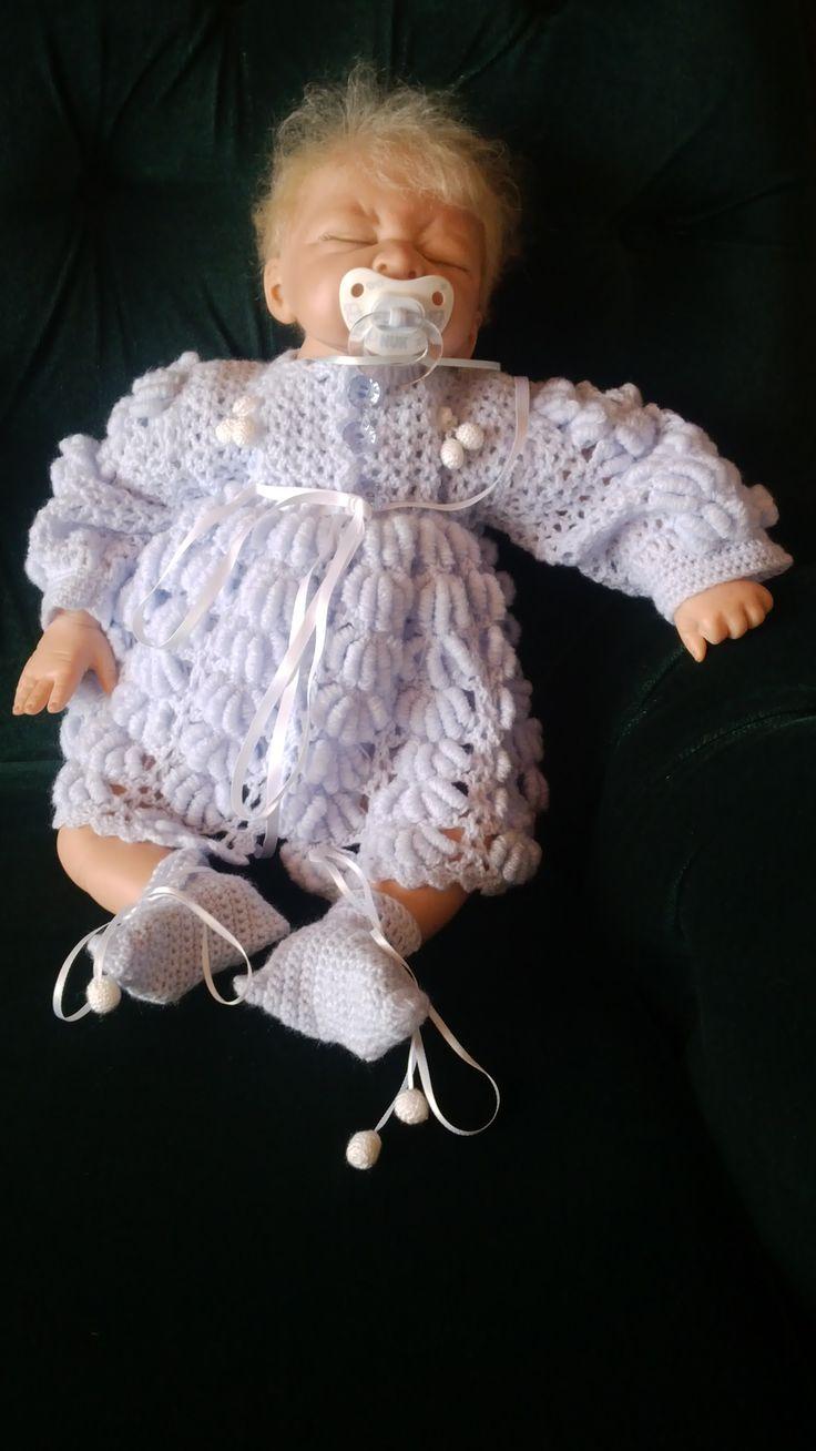 Baby wear light blue, handmade by Merle, for baby or reborn dolls.