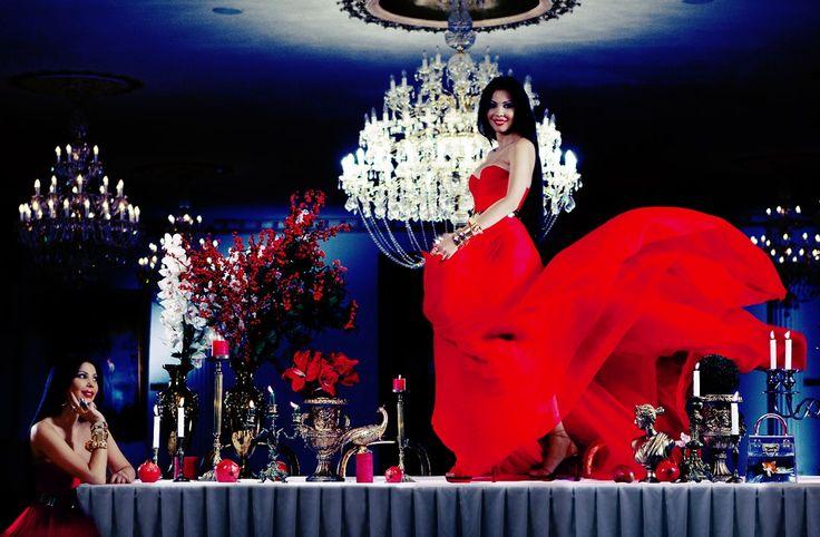 Ingrid Vlasov , dancing,rde dress,candles,chandelier,fashion,style