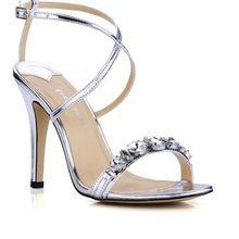 Popular silver High heels sandals Shining diamond Cross thin belt Women's bride Wedding Shoes Evening sandals pumps