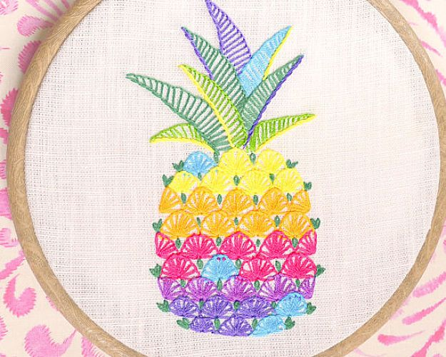 Pineapple Hand Embroidery Pattern | Impeccable Hand Embroidery Designs | Sewing Tips, Ideas, And Guide