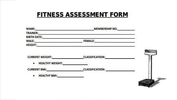 8 Fitness Assessment Form Samples Free Sample Example Format