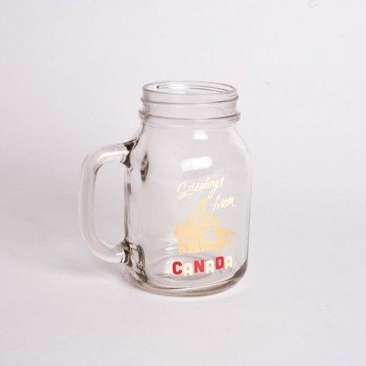"""Greetings From Canada"" mason jar mug"