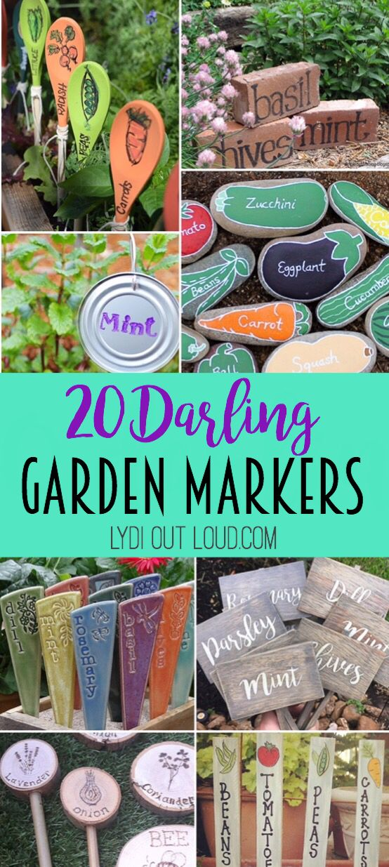 20 Darling Garden Markers! Garden markers can be just as beautiful as the flowers, herbs and vegetables that they mark! These 20 ideas to buy or DIY will spruce up any garden!