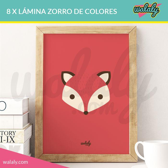 Láminas imprimibles con ilustraciones de zorros en diferentes colores. Descarga, imprime, enmarca y decora tu casa con un toque original y divertido.