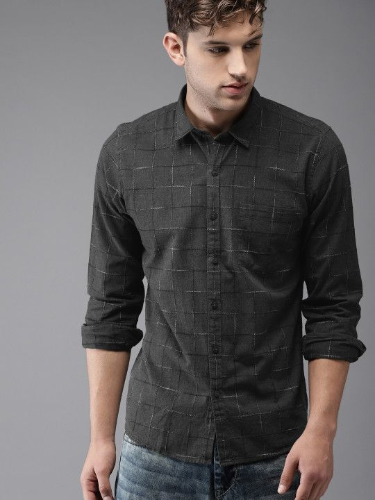 f5082f34d5 Moda Rapido Men Charcoal Grey Regular Fit Checked Casual Shirt ...