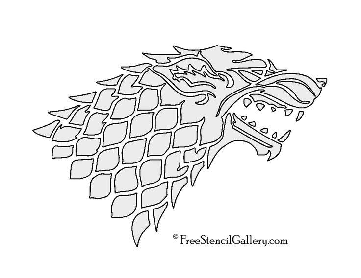Game of Thrones - House Stark Sigil Stencil 2 Black and silver glitter scrap book paper