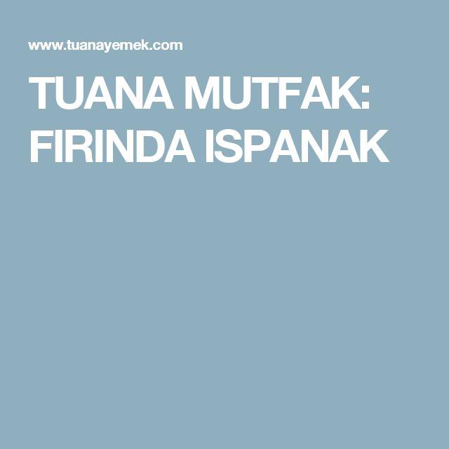 TUANA MUTFAK: FIRINDA ISPANAK