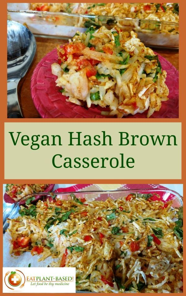 This oil and dairy-free version of the traditional American hash brown casserole came out delicious and hearty-healthy. With potatoes, onions, red bell peppers, Creamy Vegan Cheese Sauce, and smoked paprika, there is no skimping on taste. No artery-clogging butter and eggs either!