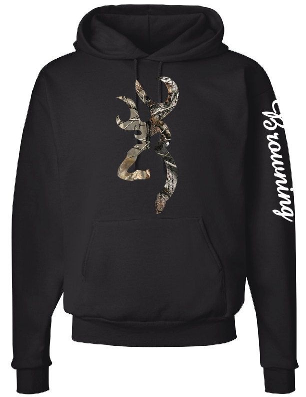 Browning Logo Hoodie, Browning Down Sleeve, Camo Design by CustomCreationsLH on Etsy
