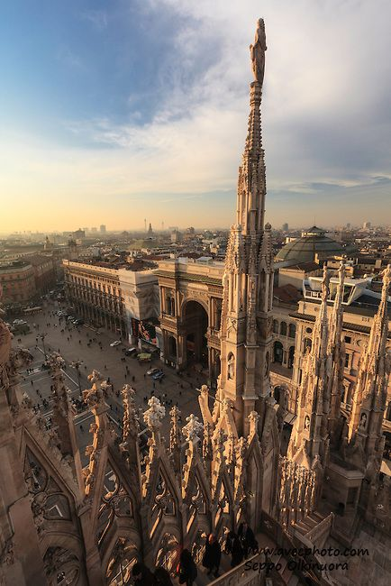 The forest of spires and the view from the roof of the Cathedral of Milan is unmatched. On a clear day one can see as far as the Alps and Apennines.