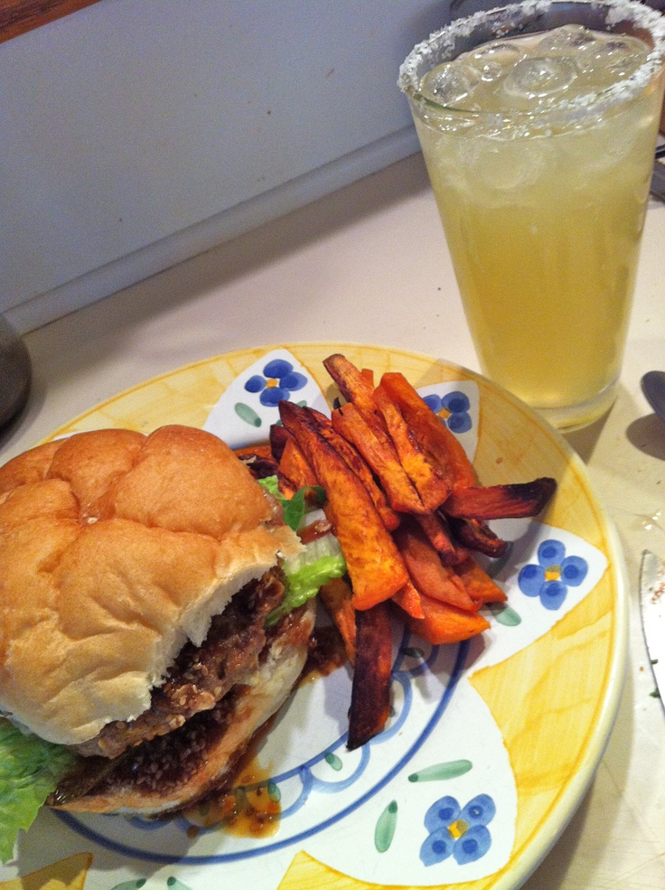 Yummy pineapple-teriyaki burger and margarita. Sweet potato fries and homemade pickles