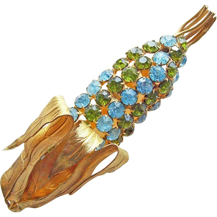 Fabulous French COUNTESS CIS Signed Crackle Glass Rhinestone Corn  from jewelpigs on Ruby Lane