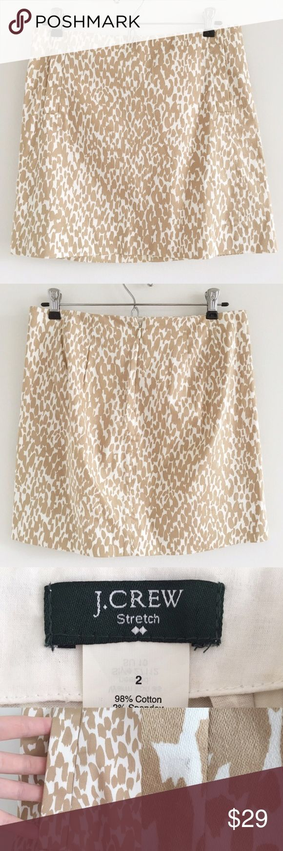 """🆕 J. Crew Factory Printed Cotton Sateen Mini A super cute mini skirt with abstract tan & cream animal print throughout.  Fun with a white top/bodysuit & jean jacket!  Stats (laying flat): Length: approx. 15.5"""" 