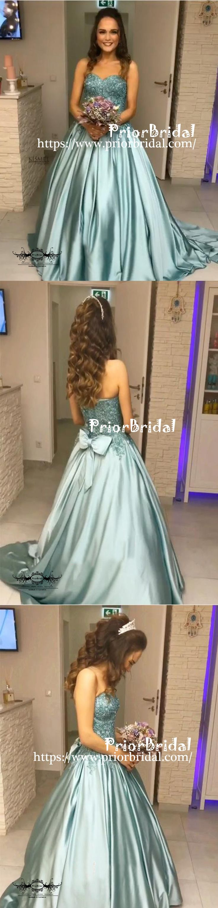 Tiffany Blue Lace Beaded Top Sweetheart Strapless Ball Gown Prom Dresses,PB1041